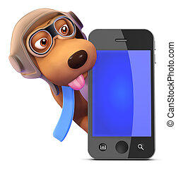 3d Pilot dog behind a smartphone - 3d render of a dog...
