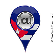 3D pin domain marker with Cuban flag isolated