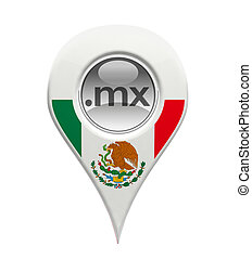 3D pin domain marker with Mexican flag isolated