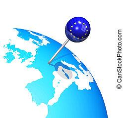 3d pin in europe map globe