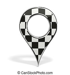 3D pin with formula one insignia isolated on white