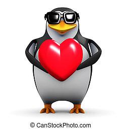 3d, pingüino, asideros, un, corazón rojo
