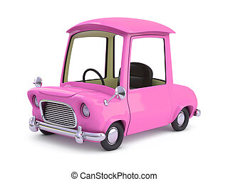 3d Pink cartoon car