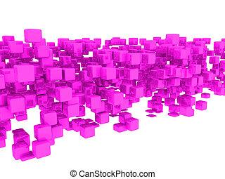 3d pink cubes