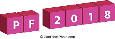 3D pink cubes with text PF 2018 isolated on white background.