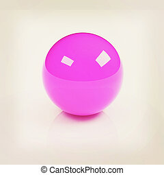 3d pink glossy sphere isolated on white. 3D illustration. Vintage style.