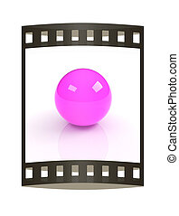3d pink glossy sphere isolated on white