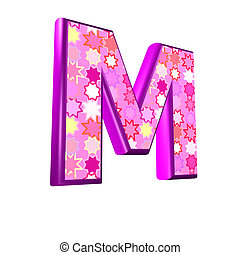 3d pink letter isolated on a white background - m