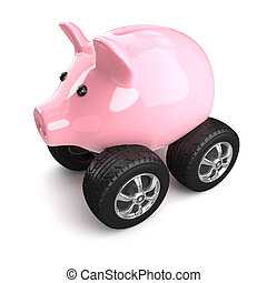 3d Pink piggy bank on wheels