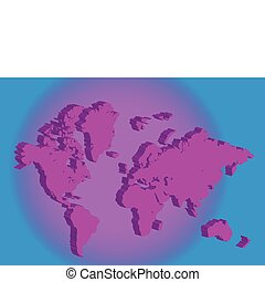 3d pink World map