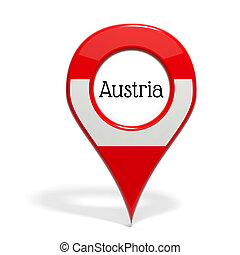 3D pinpoint with flag of Austria isolated on white