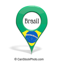3D pinpoint with flag of Brazil isolated on white