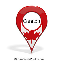 3D pinpoint with flag of Canada isolated on white
