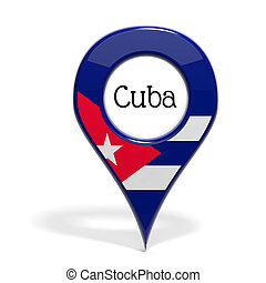 3D pinpoint with flag of Cuba isolated on white