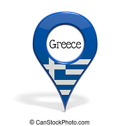 3D pinpoint with flag of Greece isolated on white