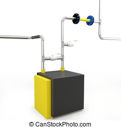 3d pipe system and valve on white background