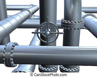 3d pipeline - 3d rendered illustration of metal pipes