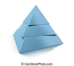 3d, piramida, trzy, poziomy, na, białe tło, z, połyskujący,...