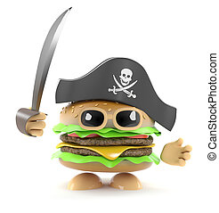 3d Pirate burger - 3d render of a burger playing at being a...