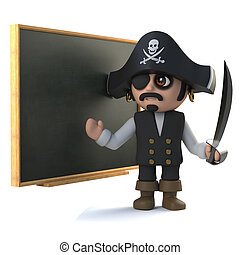 3d Pirate captain at the blackboard