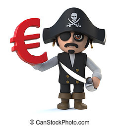 3d Pirate captain holds Euro currency symbol