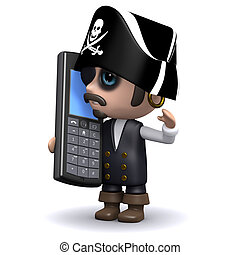 3d Pirate chats on a cell phone - 3d render of a pirate with...