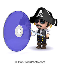 3d Pirate dvd - 3d render of a pirate with a dvd