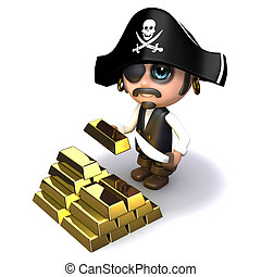 3d Pirate gold - 3d render of a pirate with gold bars