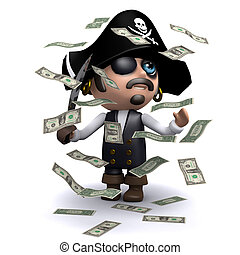 3d Pirate in a windfall of cash - 3d render of a pirate...