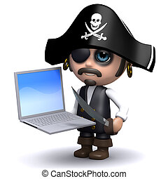 3d Pirate laptop - 3d render of a pirate with a laptop