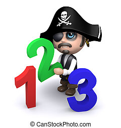 3d Pirate learns how to count