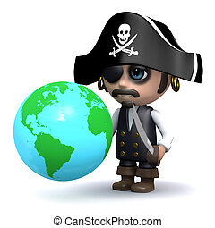 3d Pirate looks at a globe of the Earth - 3d render of a...