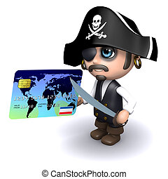 3d Pirate pays with a credit card - 3d render of a pirate...