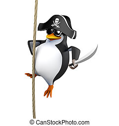3d Pirate penguin swings on a rope - 3d render of a penguin...