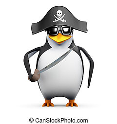3d Pirate penguin with cutlass - 3d render of a penguin with...