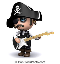 3d Pirate plays electric guitar - 3d render of a pirate...