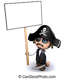 3d Pirate protests with a placard - 3d render of a pirate...