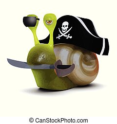 3d Pirate snail - 3d render of a snail wearing a pirates hat...