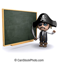 3d Pirate teacherq - 3d render of a pirate and a blackboard