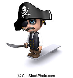 3d Pirate walks the plank - 3d render of a pirate walking...