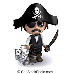 3d Pirate with an empty shopping basket
