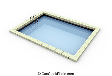3d, piscina, natação