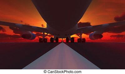 3d, piste, atterrissage, avion