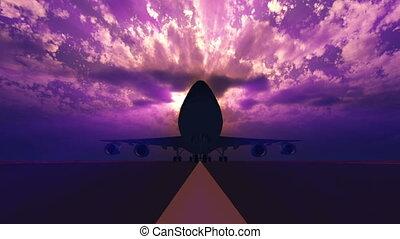3d, piste, atterrissage avion