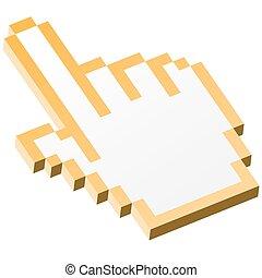 3d, pixel, gráfico, mano, -, índice, amarillo