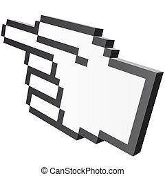 3d, pixel, gráfico, mano, -, índice
