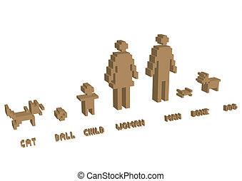 3d pixel silhouette family - illustration