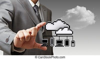 3d, pixel, wolk, netwerk, pictogram