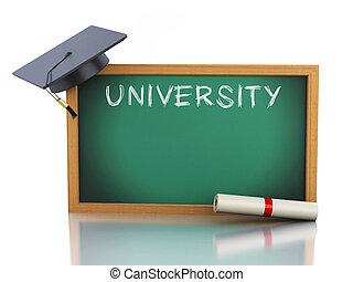 3d, pizarra, con, diploma, certificado, y, graduación, cap.