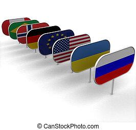 3d, placas, retratar, el, banderas, blanco, plano de fondo